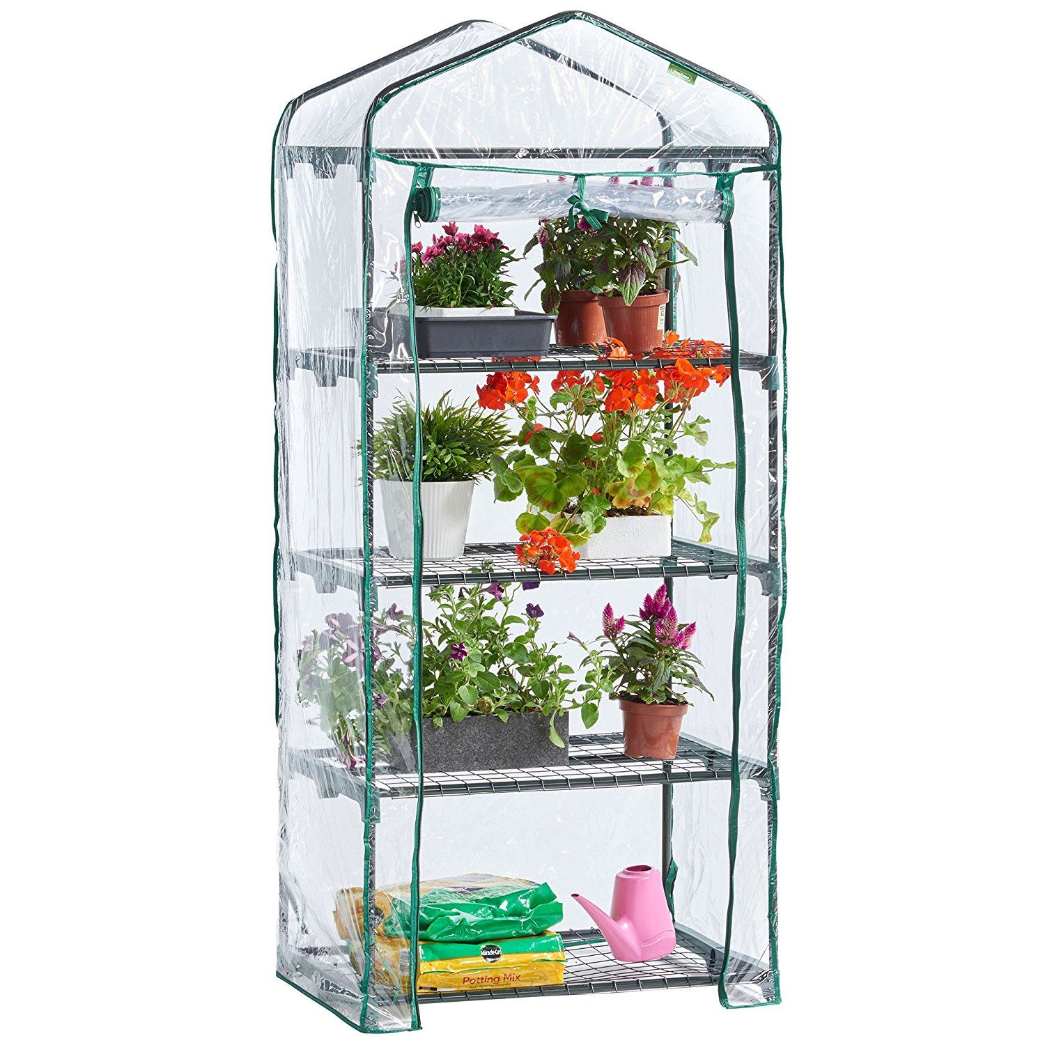 NEW GREENHOUSE COLD FRAME 4 TIER WITH SHELVING /& REINFORCED COVER OUTDOOR GARDEN