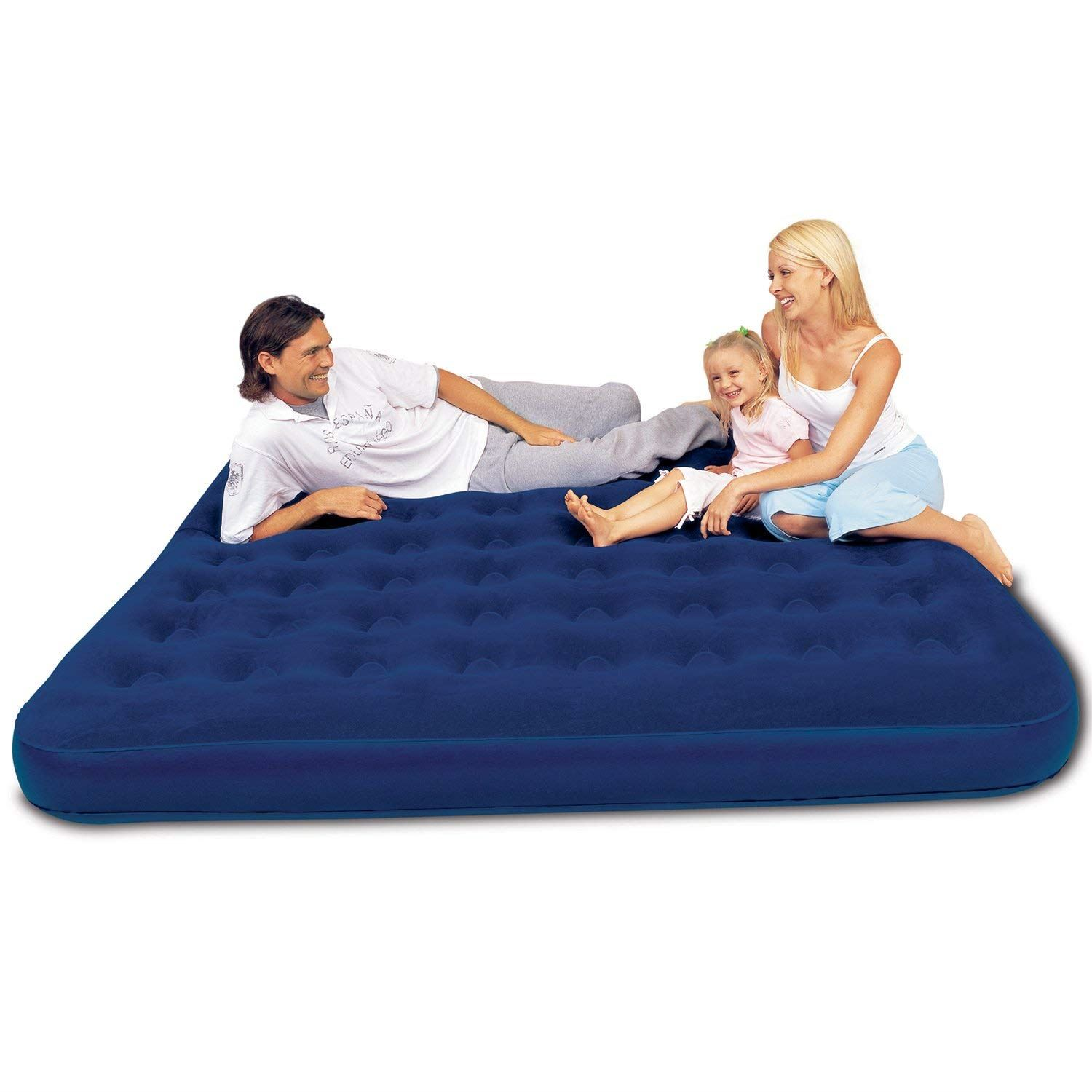 Unibos Single Airbed Comfort Inflatable Air Bed Indoor Outdoors Camping Sleepover Air Mattress In-Built Pump and Pillow Brand New