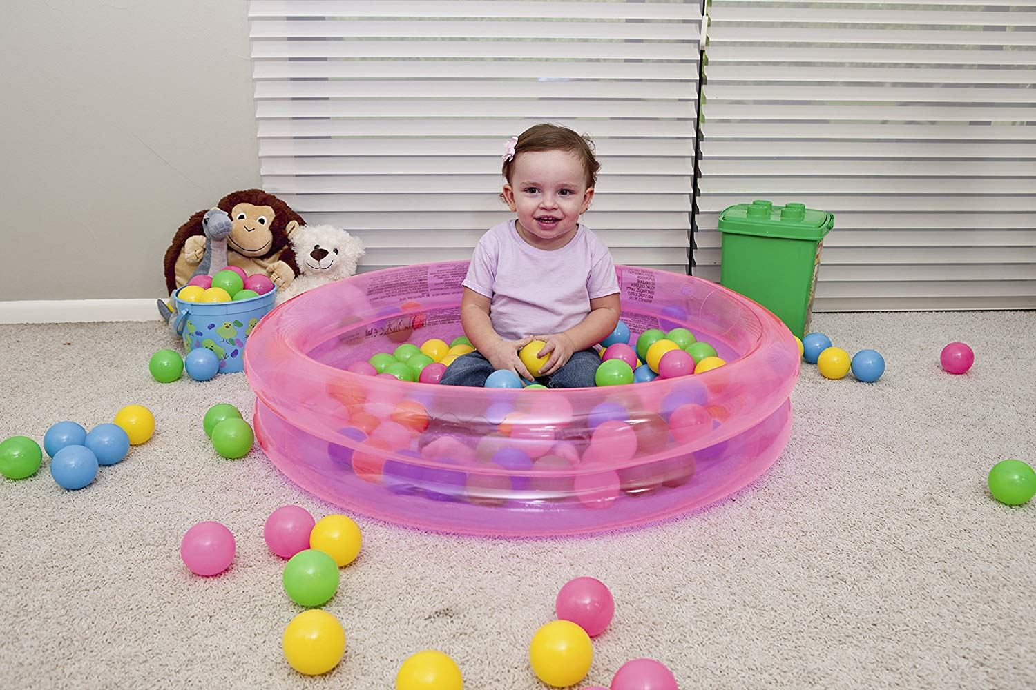 BESTWAY CHILDRENS INFLATABLE 2 RING PADDLING POOL BALL PLAY PIT GAME KIDS TOY