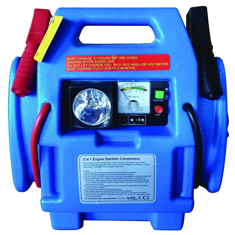 12V Car Jump Starter Battery Start Booster Charger Leads Air Compressor Portable