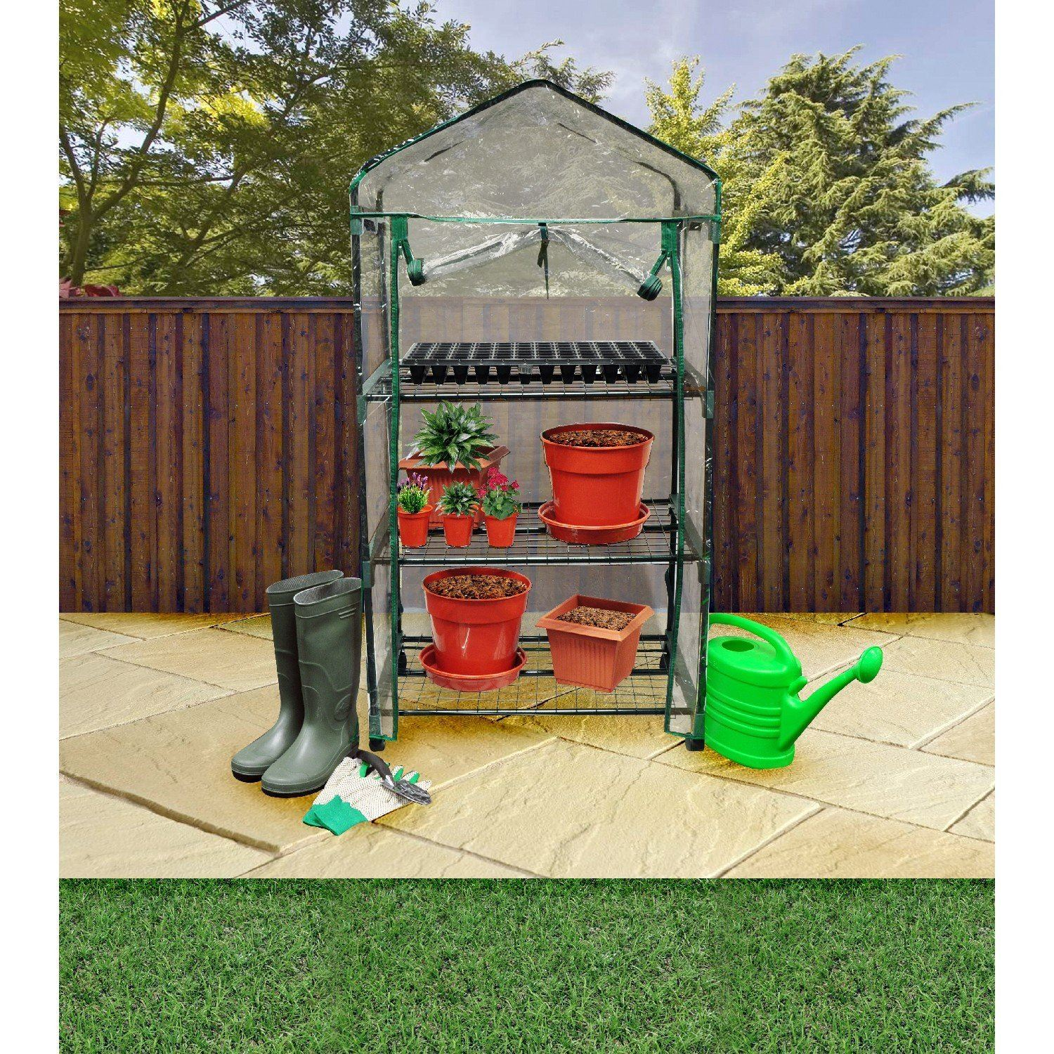 Kingfisher 3 Tier Greenhouse on Wheels Multi-Colour
