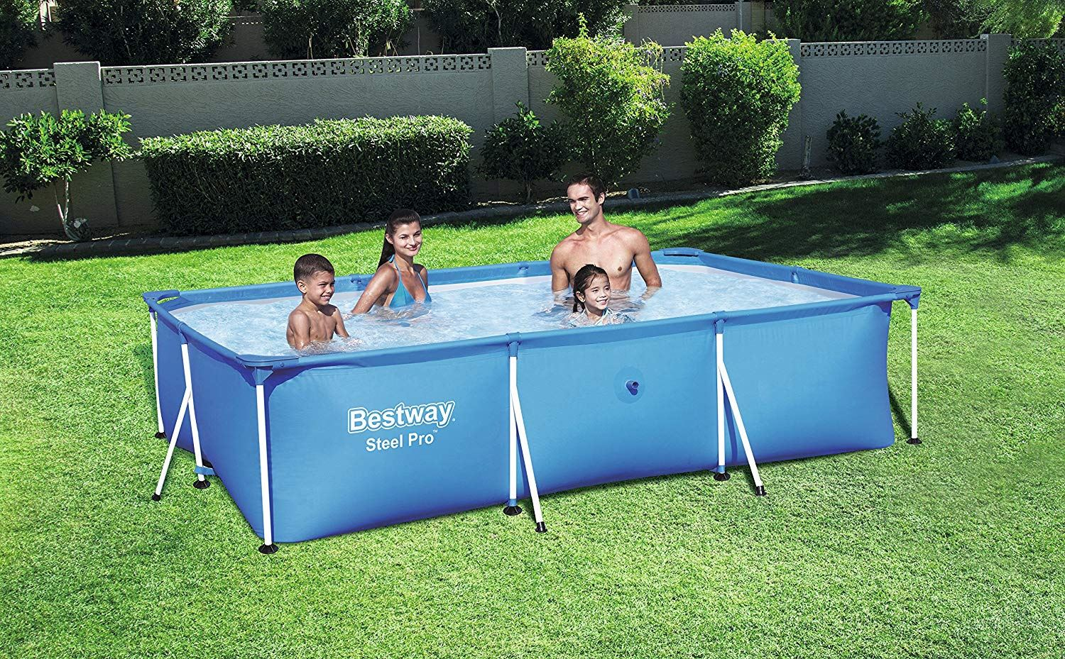 Details about New Bestway Rectangular Swimming Pool with Steel Frame 3  Sizes Blue Backyard✓