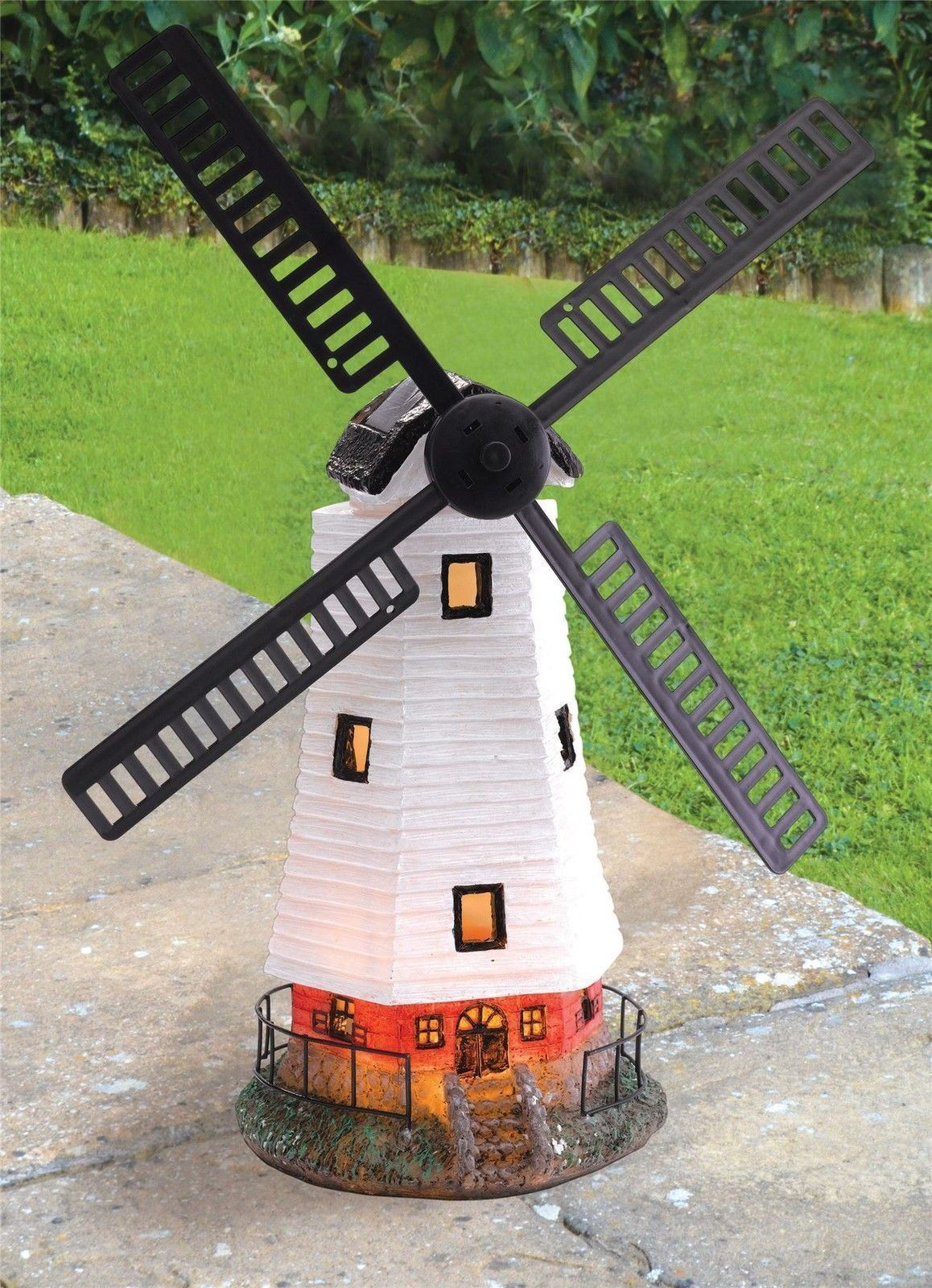 LARGE SOLAR POWERED GARDEN WINDMILL LED LIGHT MOVING SAILS ORNAMENT ...