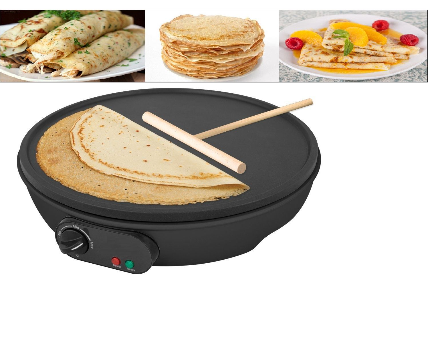 "1000W ELECTRIC 12/"" INCH PANCAKE CREPE MAKER NON STICK PLATE FREE ACCESSORIES"
