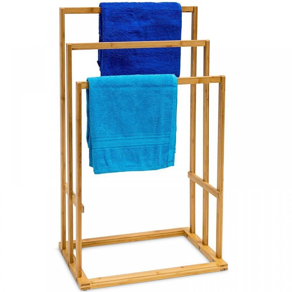 Bamboo 3Tier Bar Towel Rail Rack Holder Bathroom Organiser Storage ...