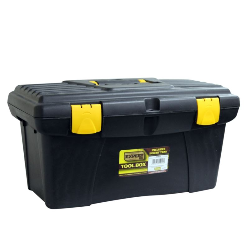Details About 19 Tool Box With Handle Tray Diy Storage Plastic Toolbox New Lockable Sturdy