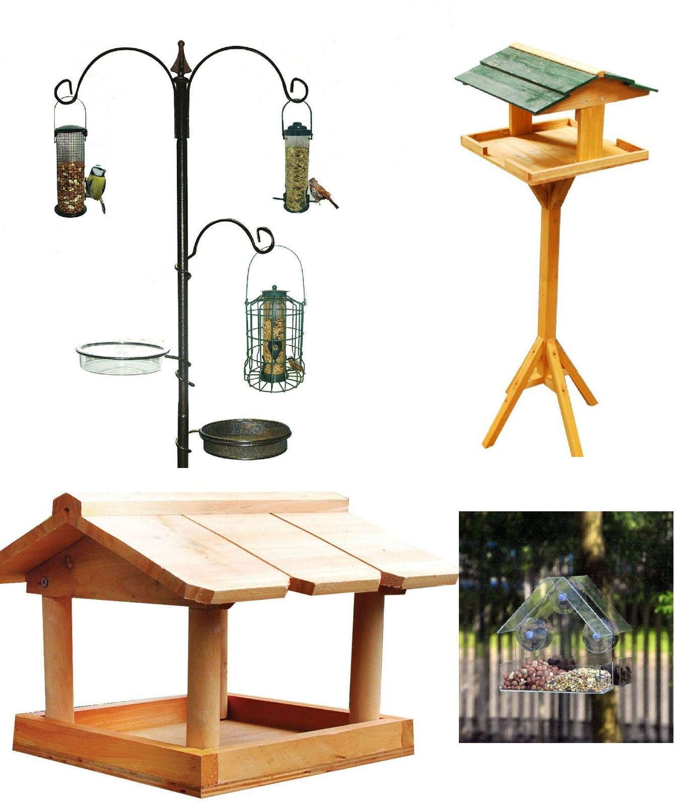NEW TRADITIONAL WOODEN BIRD TABLE FEEDER FEEDING STATION FREE P/&P
