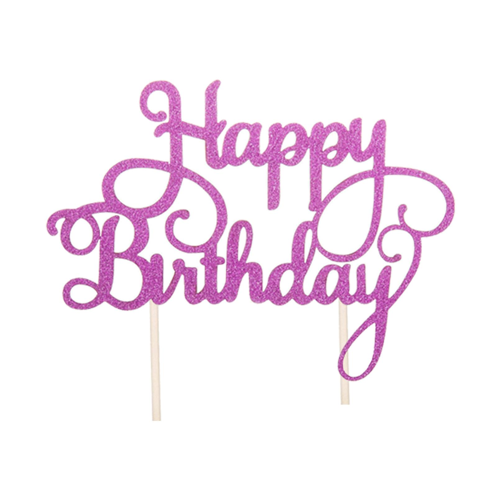 Cake-Topper-Birthday-Glitter-Calligraphy-Bling-Sparkle-Decoration-Party-Happy thumbnail 12