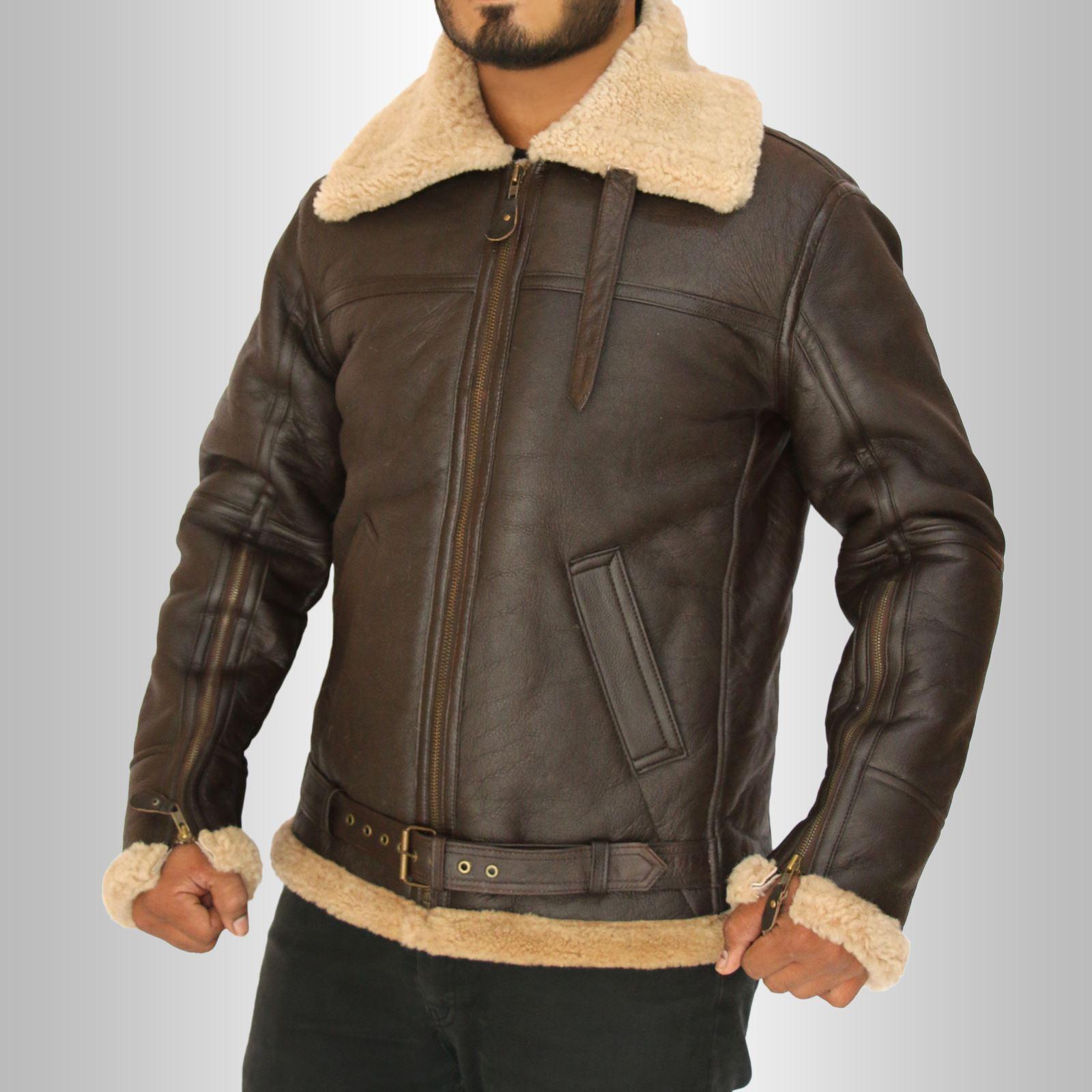 Mens-Winter-RAF-B3-Real-Sheepskin-Shearling-Pilot-Flying-Leather-Jacket-Flight