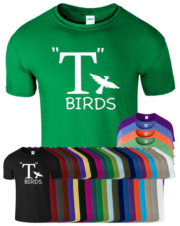 T BIRDS CHEST 1950/'s THEME FANCY DRESS GREASE IS THE WORD MENS WOMENS T SHIRT