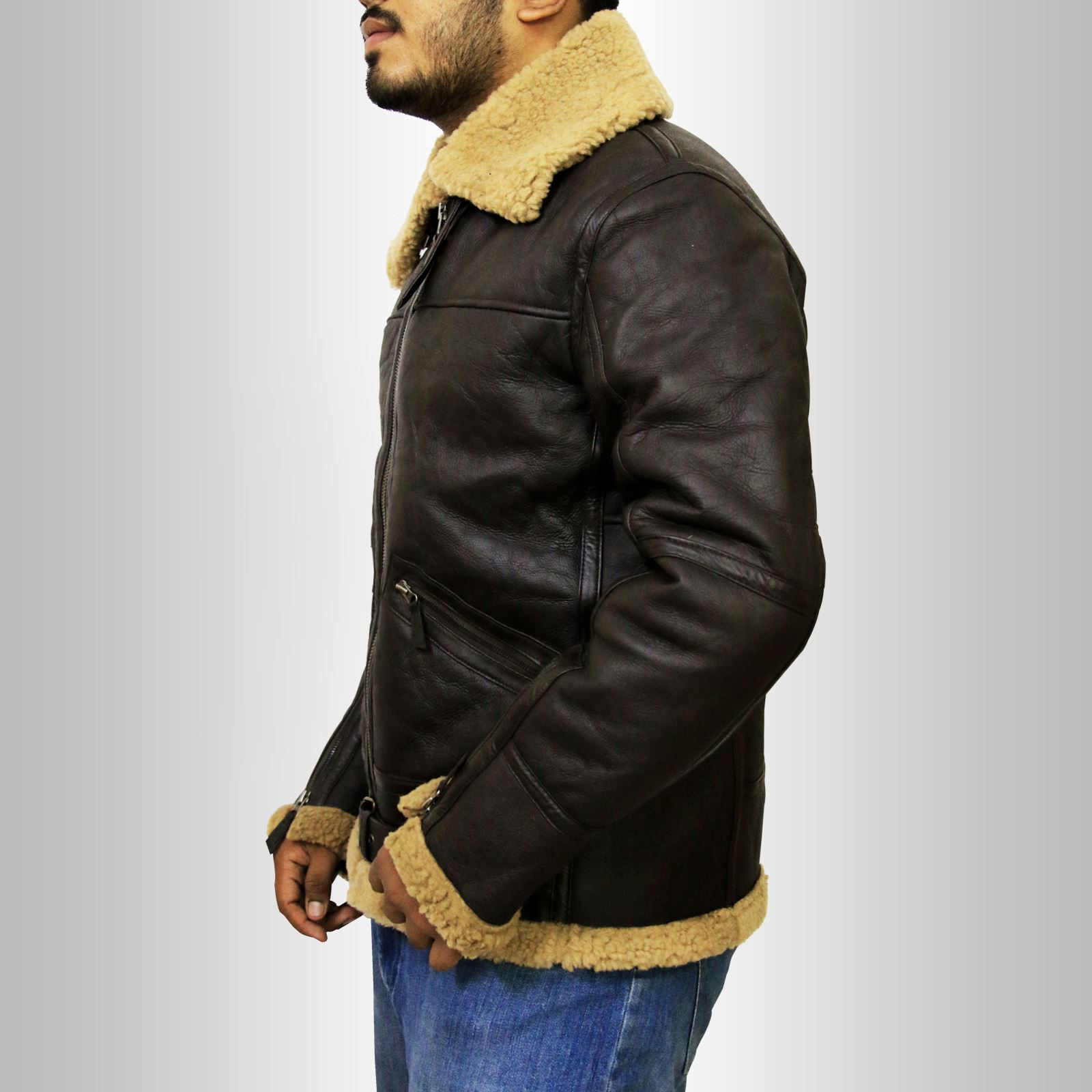 Men-039-s-New-RAF-B3-Real-Ginger-Shearling-Sheepskin-Real-Leather-Flying-Jacket