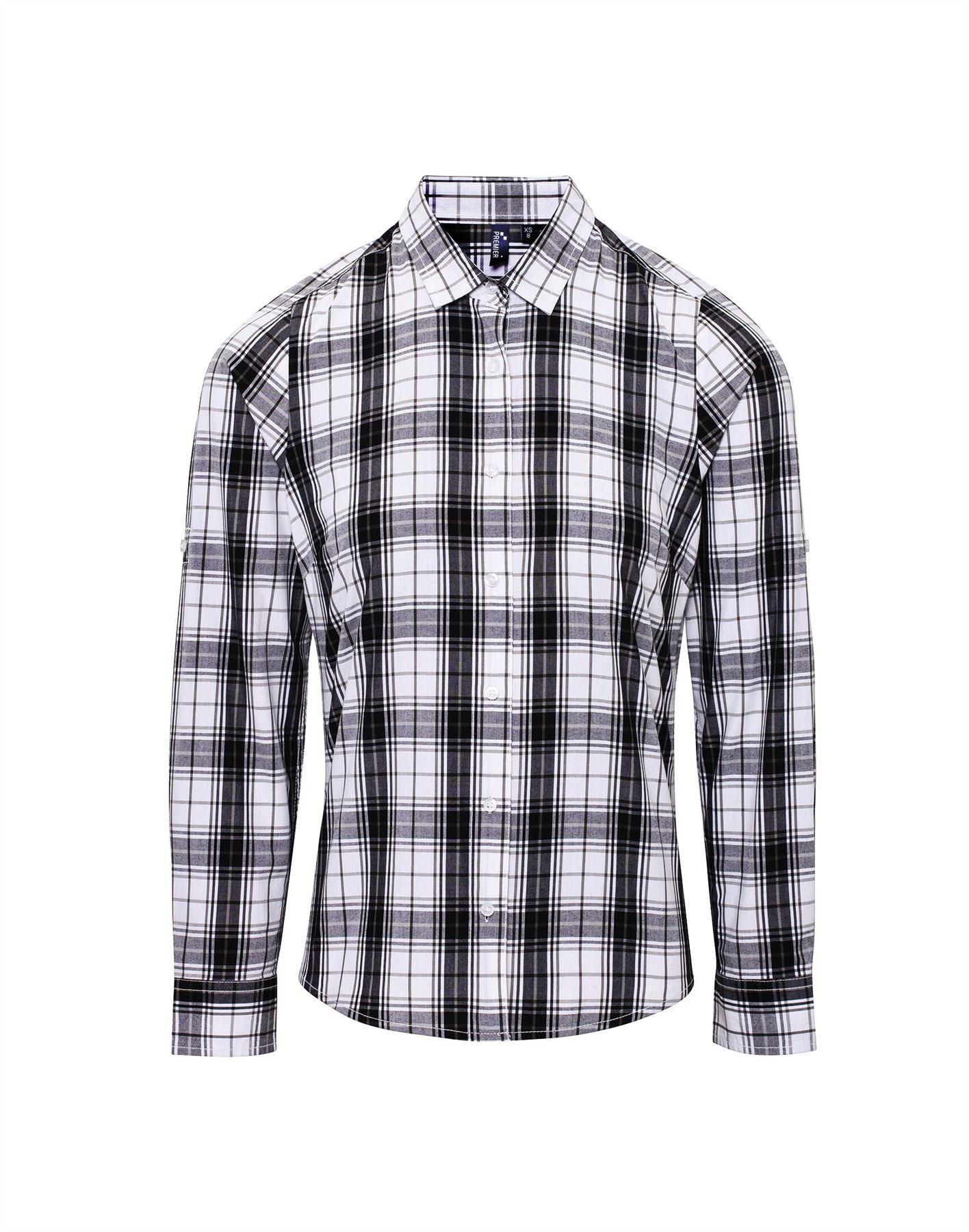 Premier-para-mujer-ginmill-cheque-de-algodon-camisa-de-mangas-largas-Damas-Informal-Estilo-PR354