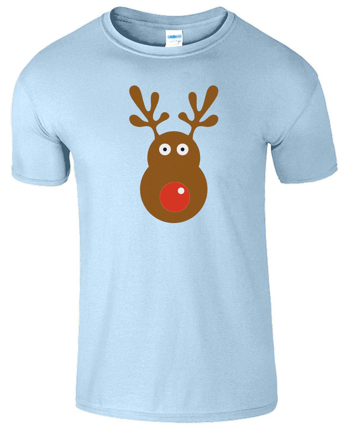 Rudolph Reindeer Face Christmas Kids Funny T-Shirt Xmas Gift Top ...