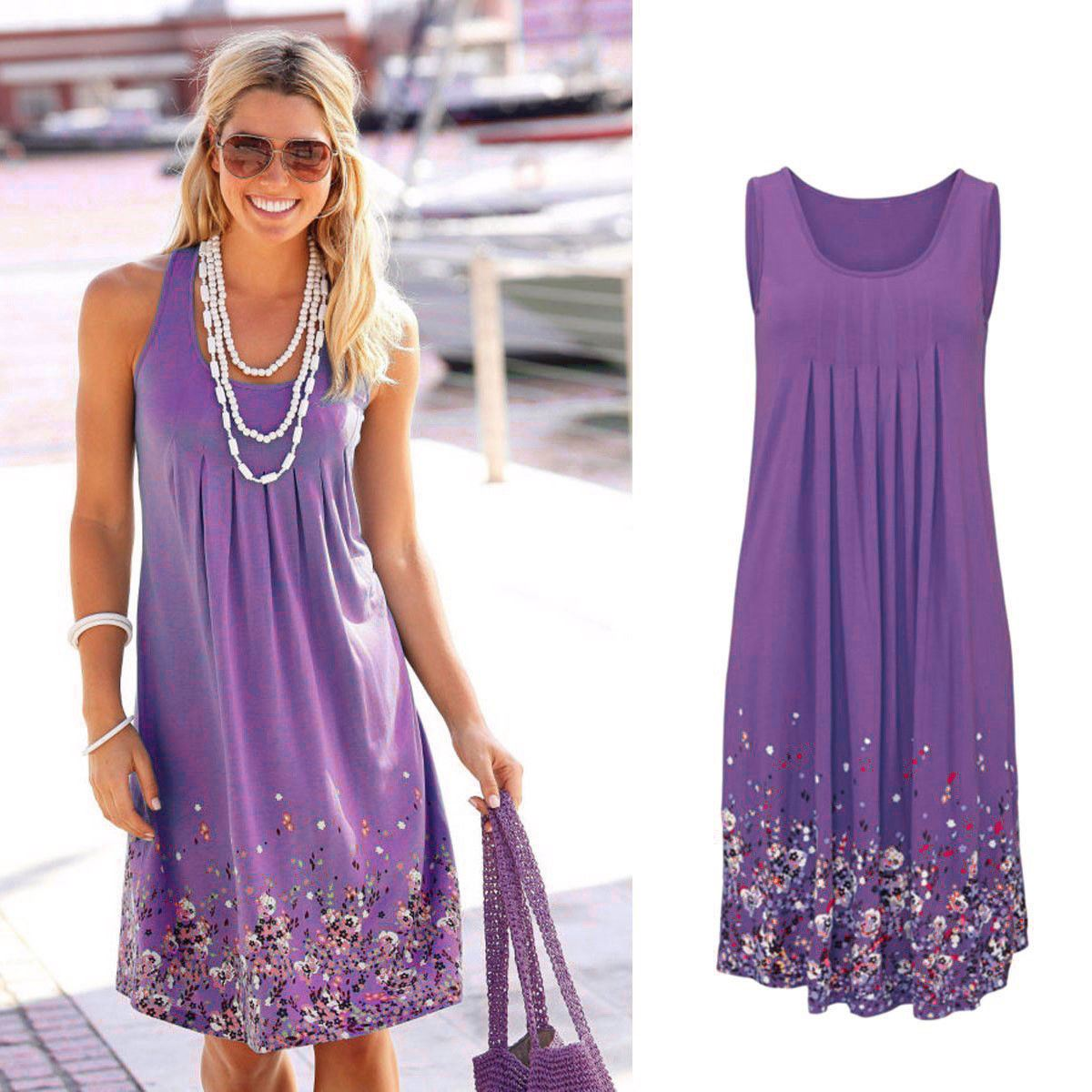 Women Holiday Summer Beach Party Kaftan Boho Cover Up Dress Floral ...