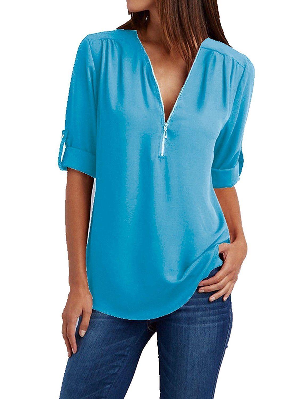 Summer Dress Chiffon V-Neck Zipper Shirt Womens Party Wear Ladies Tops Blouse