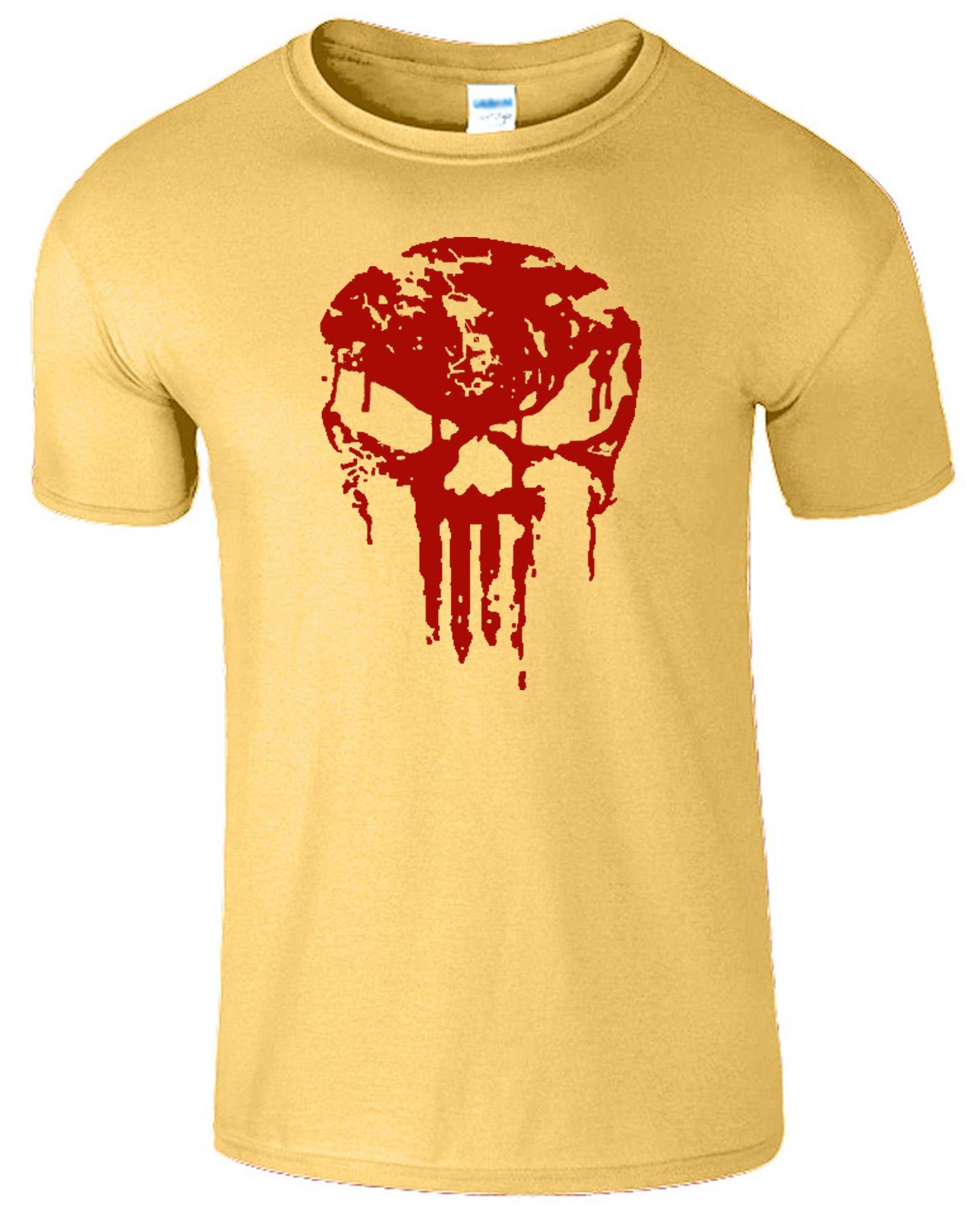 Punisher Skull Bloody Mens Frank Castle Red Logo Crossfit Gym Workout Top TShirt