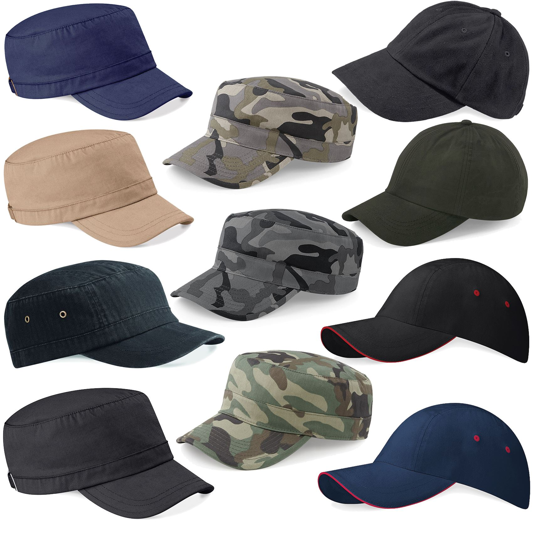 Unisex Mens Teamlife Urban VII 7 Panels Baseball Cap Adjustable Trucker Hats