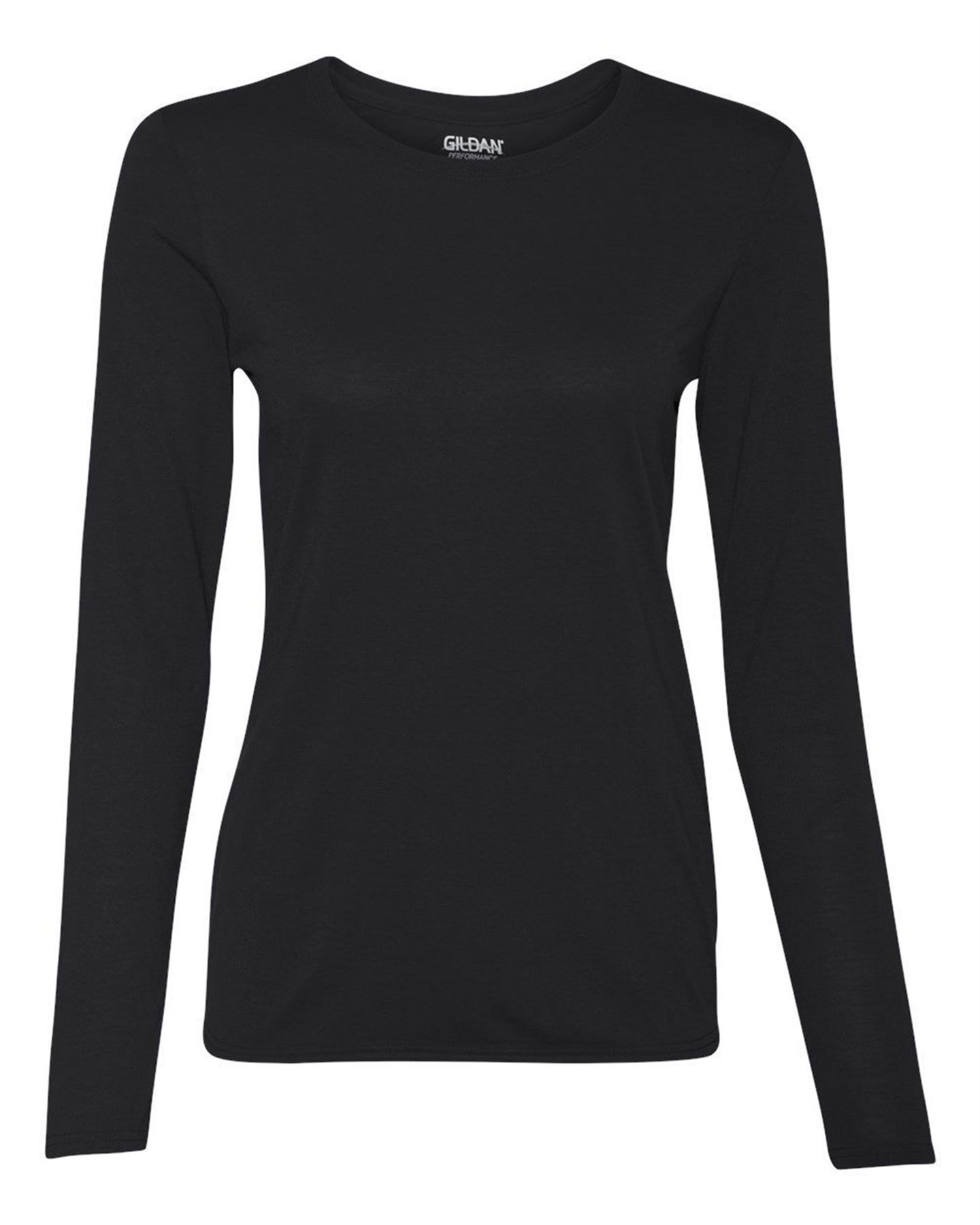 ddf5e84e7bf8c Gildan Performance Womens Ladies T Shirt Long Sleeve Crew Neck Plain ...