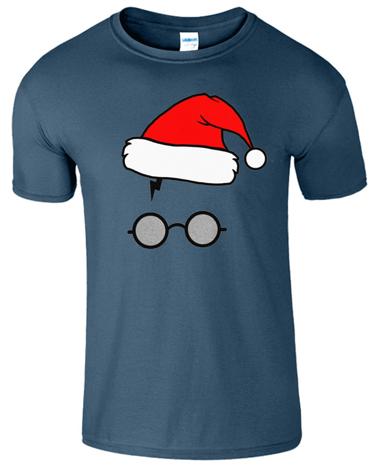 Harry Potter Glasses Santa Hat Tshirt Christmas Festive Present Gift Tee T shirt