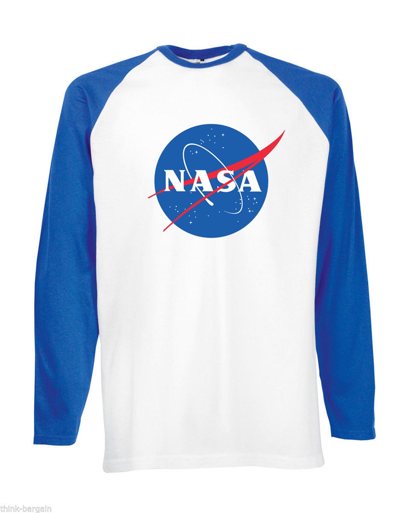 Nasa space mens t shirt long sleeve astronaut nerd raglan for Best baseball t shirts