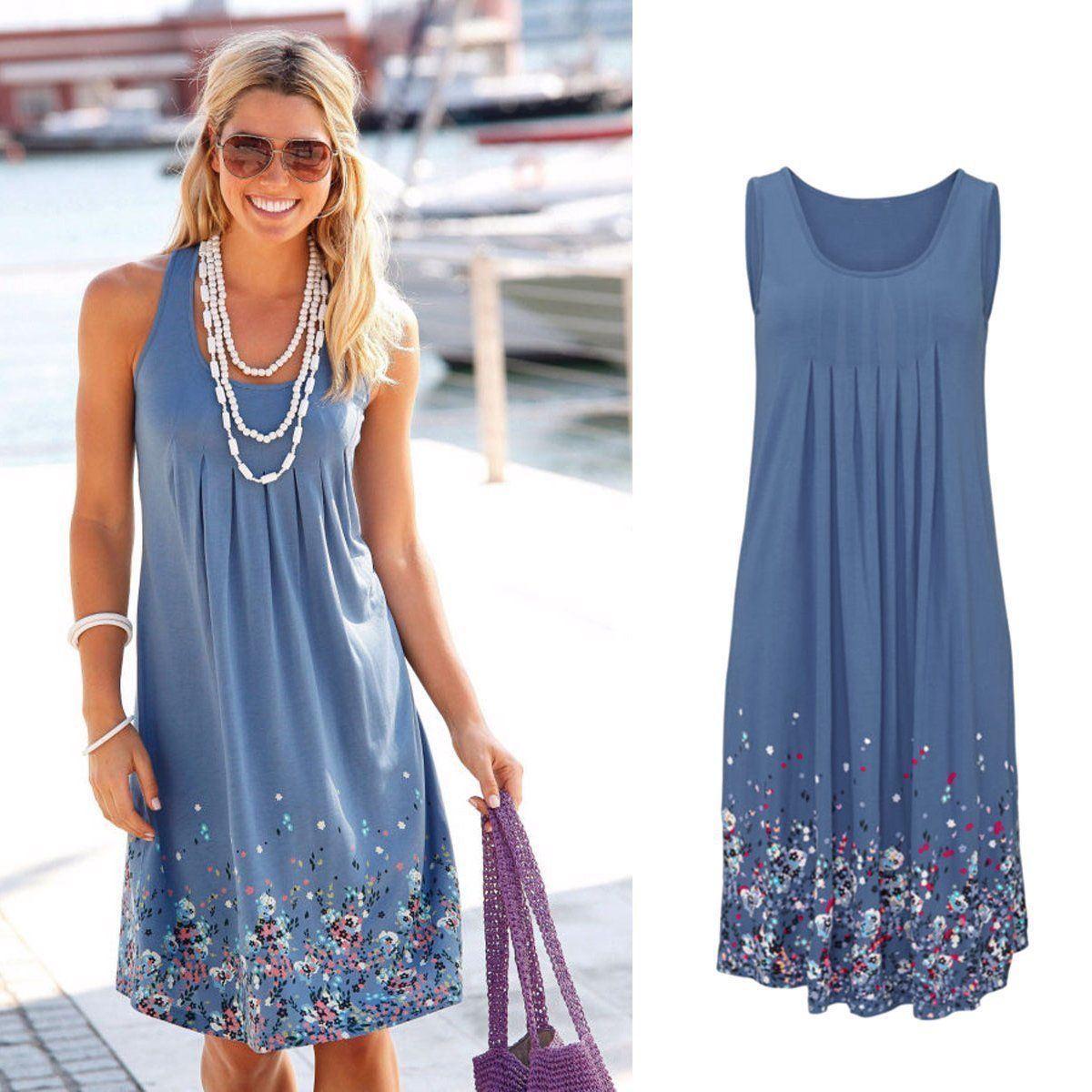 Womens Boho Floral Sleeveless Summer Party Beach Loose Midi Ladies Long Dress