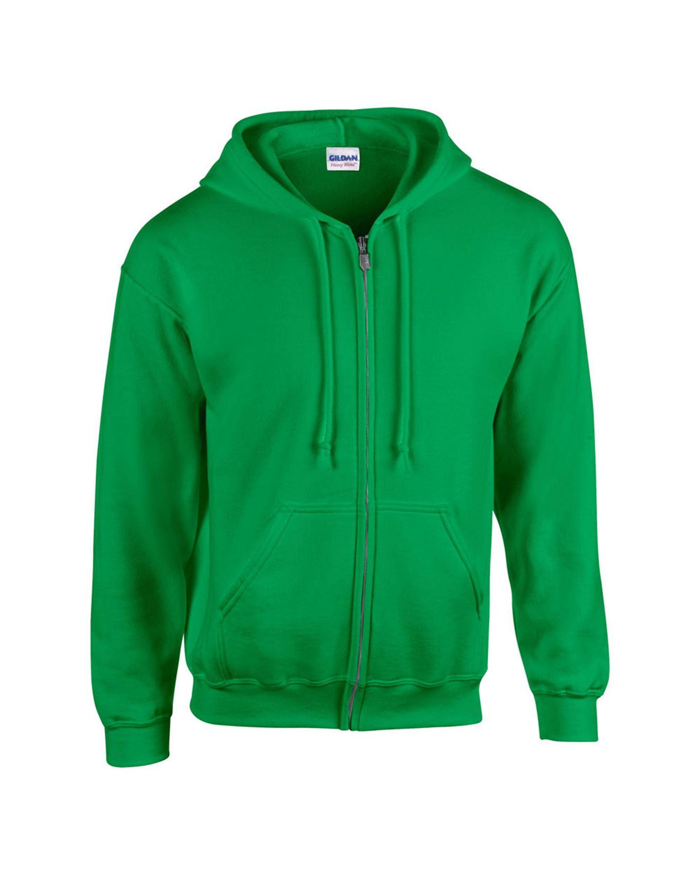 d390baa7859 Gildan Plain Mens Kids Blank Fleece Full Zip Hooded Heavy Blend ...