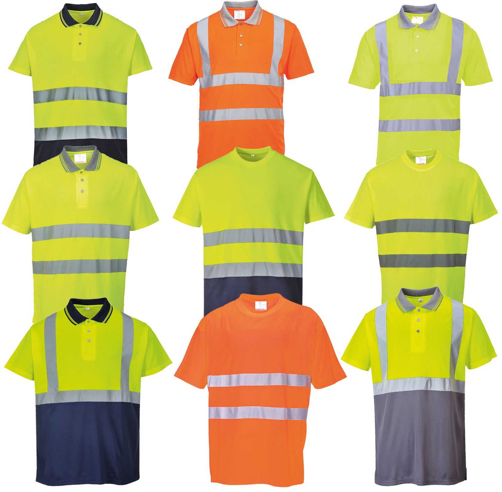 PortWest Mens Polo T Shirt Comfort Two Tone Easy Care Soft Feel Safety T-shirt