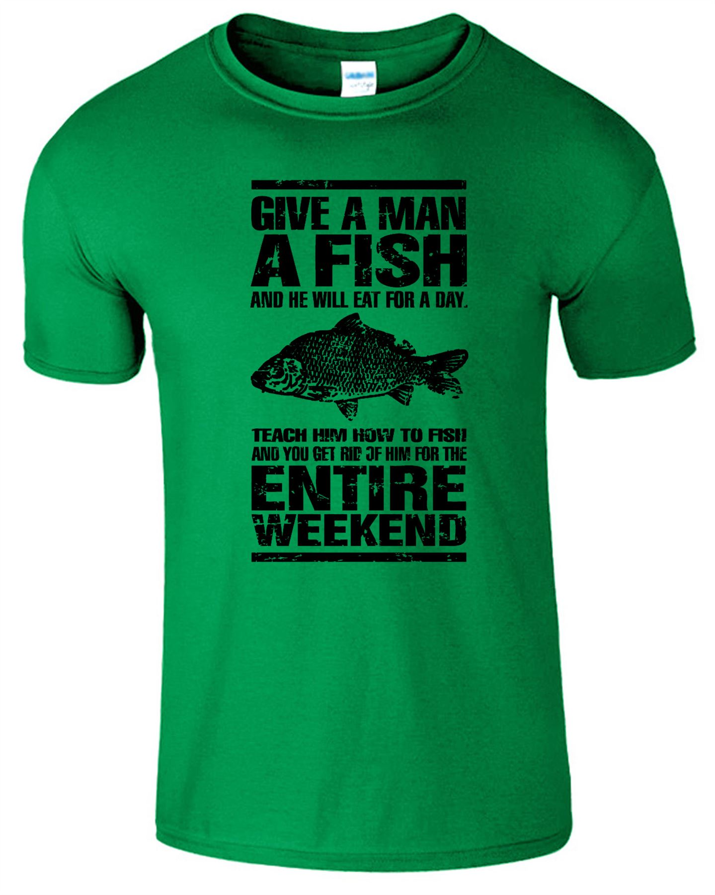 Give a man a fish new mens t shirt funny fisherman gift for Best fishing shirts men