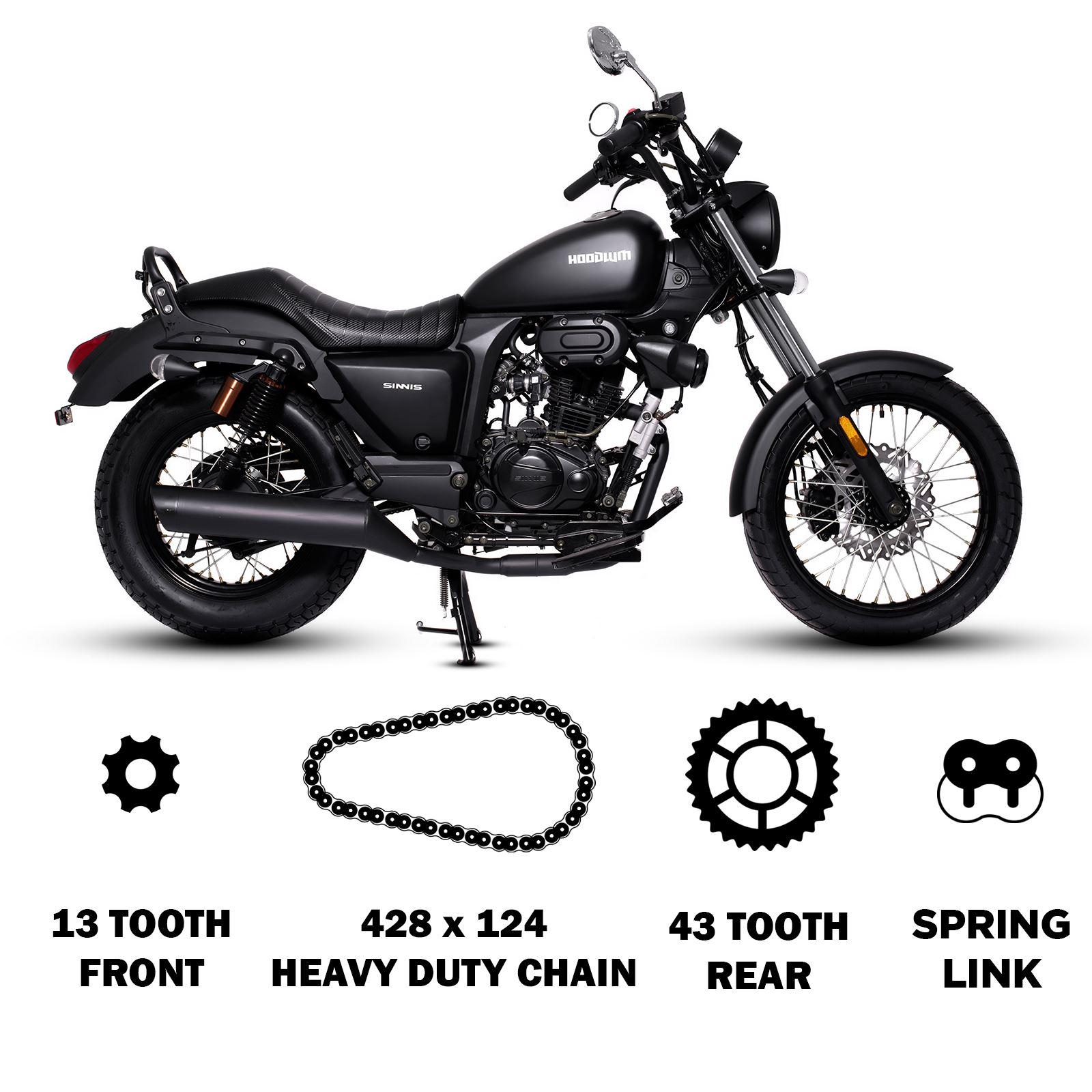 DID Gold/&Black Chain and Sprocket Kit Sinnis Apache SM 125 QM125GY-H 17-19
