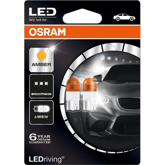 2x WY5W (501) OSRAM LED Orange Amber 12V 1W 2855YE-02B Indicator Lamps 2000K