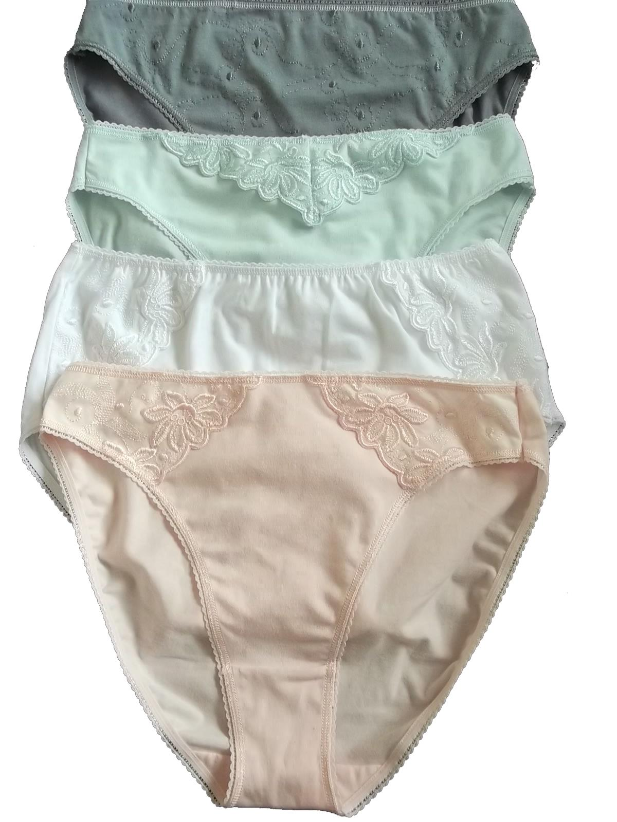 size 10 to 18 Ex M/&S Jacquard Lace Trim High Leg Knickers