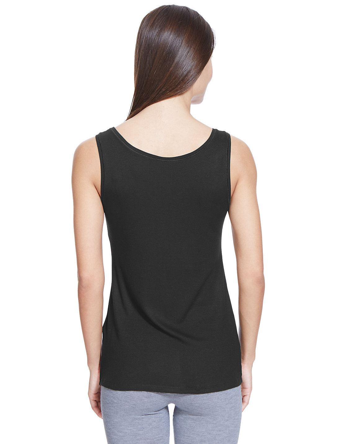 EX-M-amp-S-Marks-And-Spencer-Black-Stretchy-Scoop-Neck-Ribbed-Vest-Top thumbnail 5