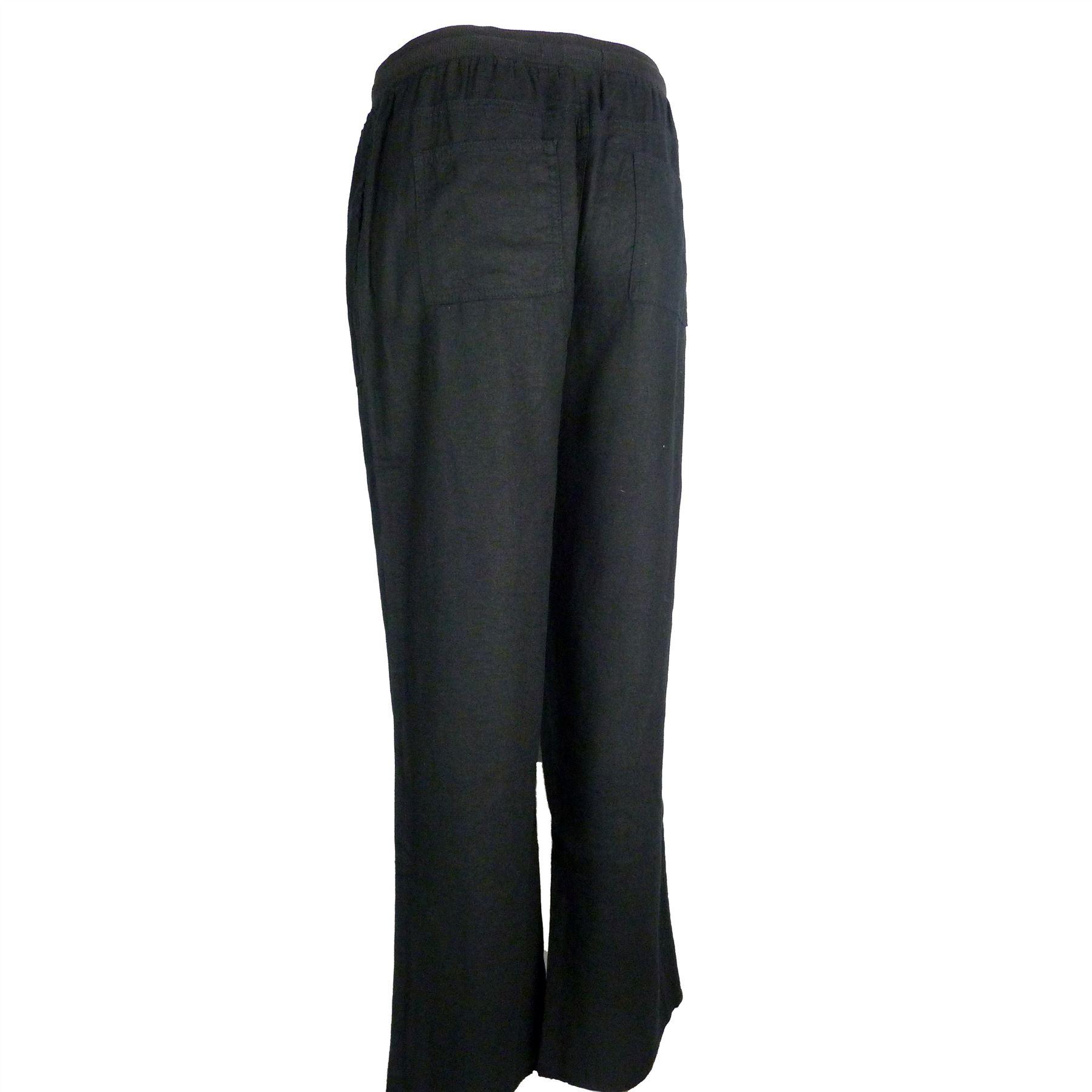 M/&S Collezione lino ricchi Regular Fit Pantaloni Blu Navy ~ ~