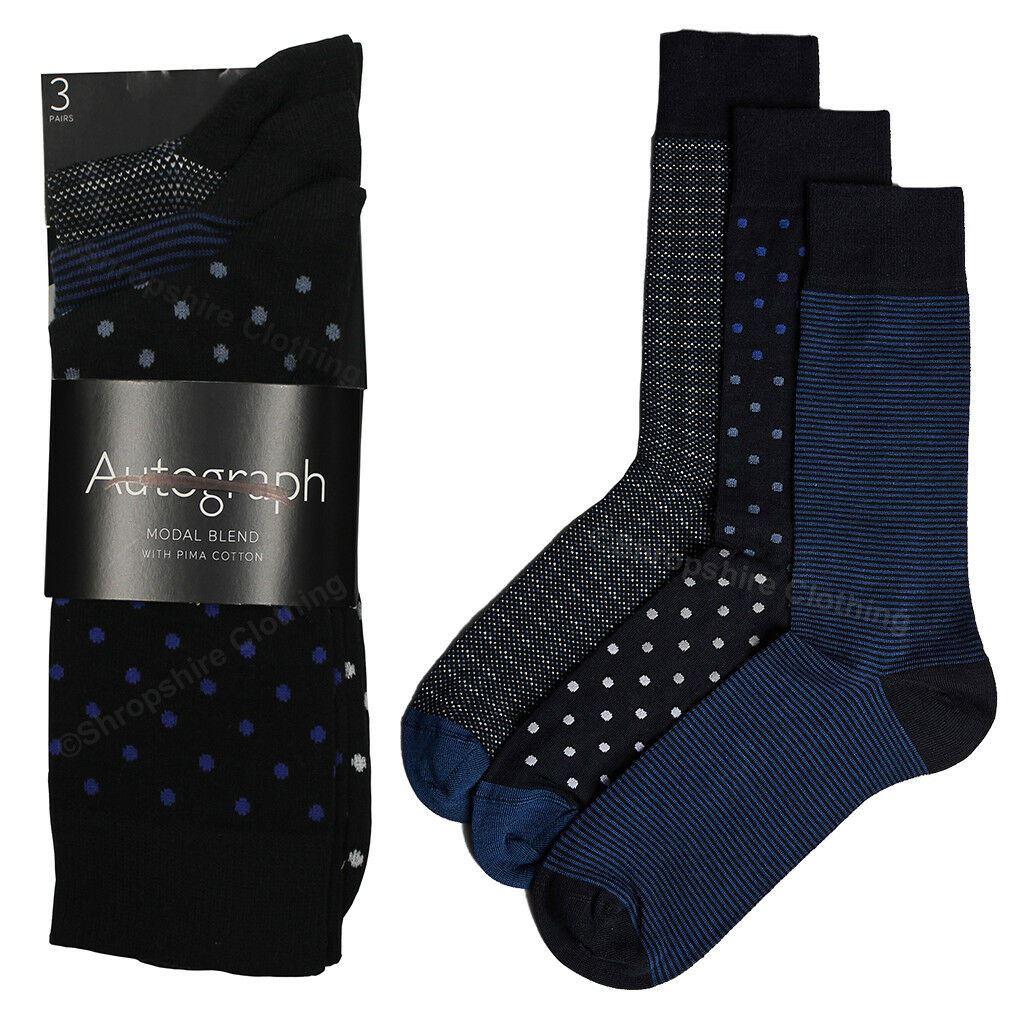 Mens Ex M/&S Autograph 3 Pack Modal Blend w// Pima Cotton Socks sizes 8 9 10 11 12