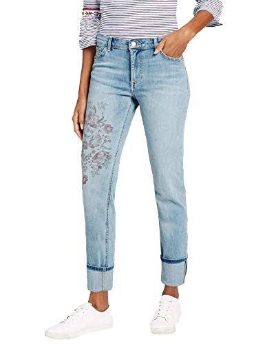 Details about EX M&S Womens Ladies Flower Detail Mid Rise Slim Leg Jeans RRP £29.50