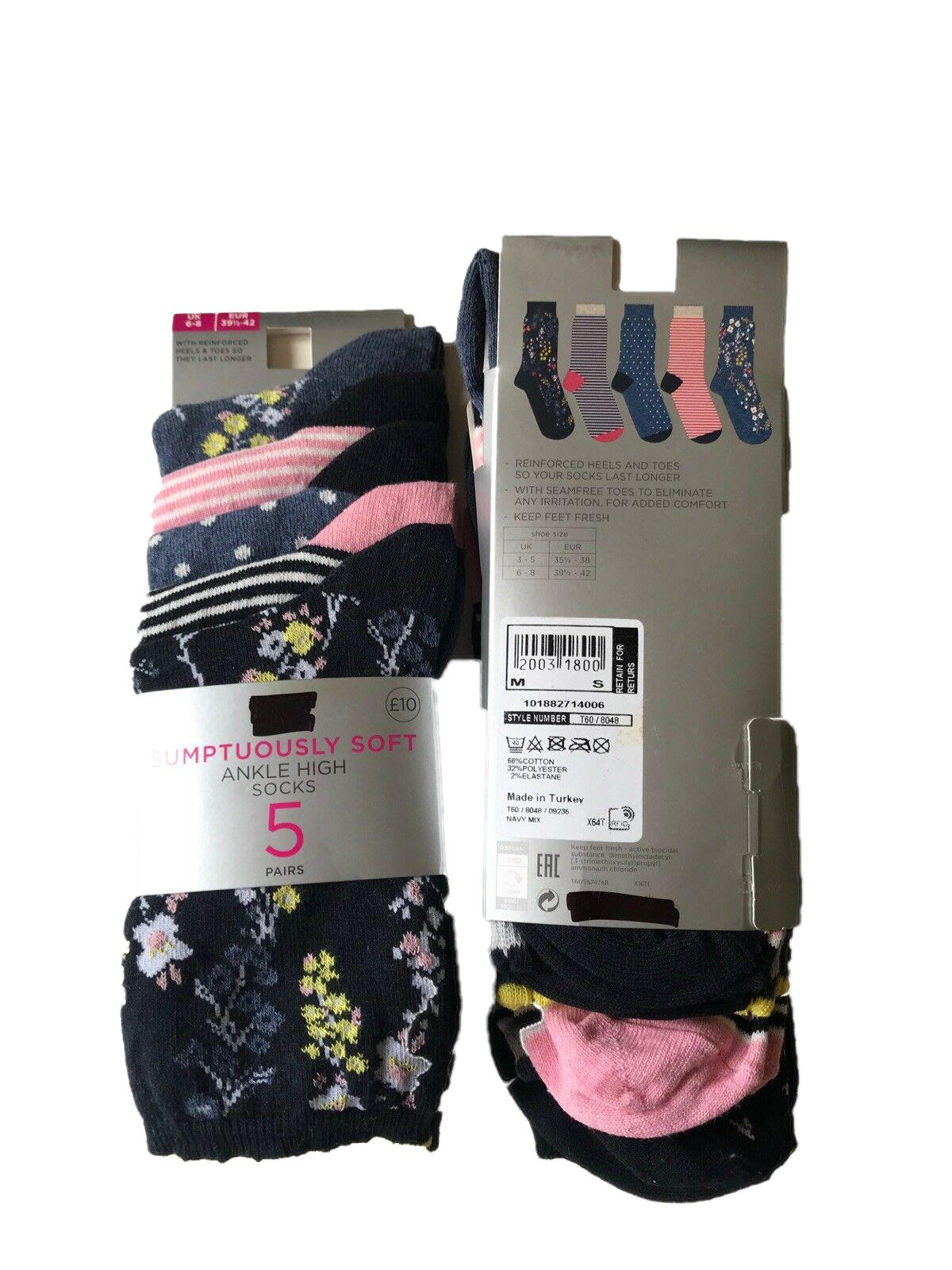 M/&S Ladies Cotton Rich ankle socks Size 6-8 Soft Touch Gentle Top Pack Of 5
