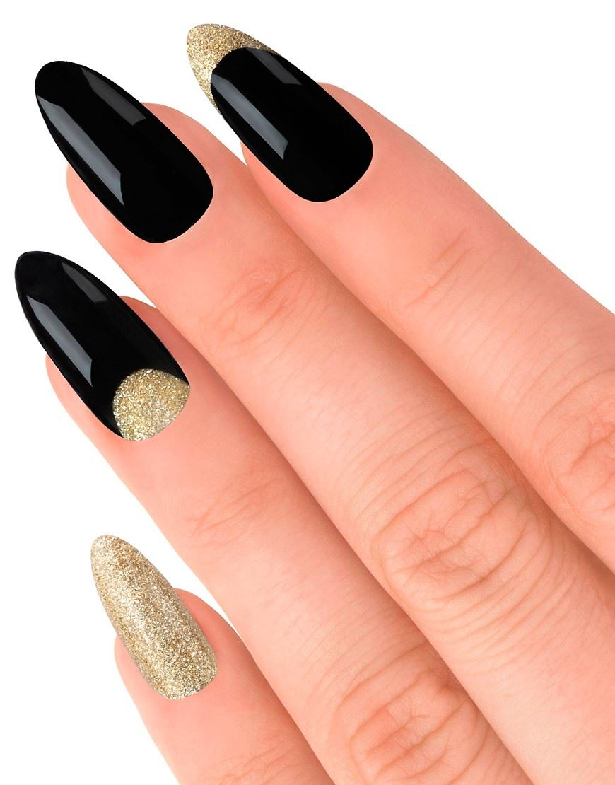 House-Of-Holland-False-Nails-Glitterbug-Black-amp-Gold-24-Nails