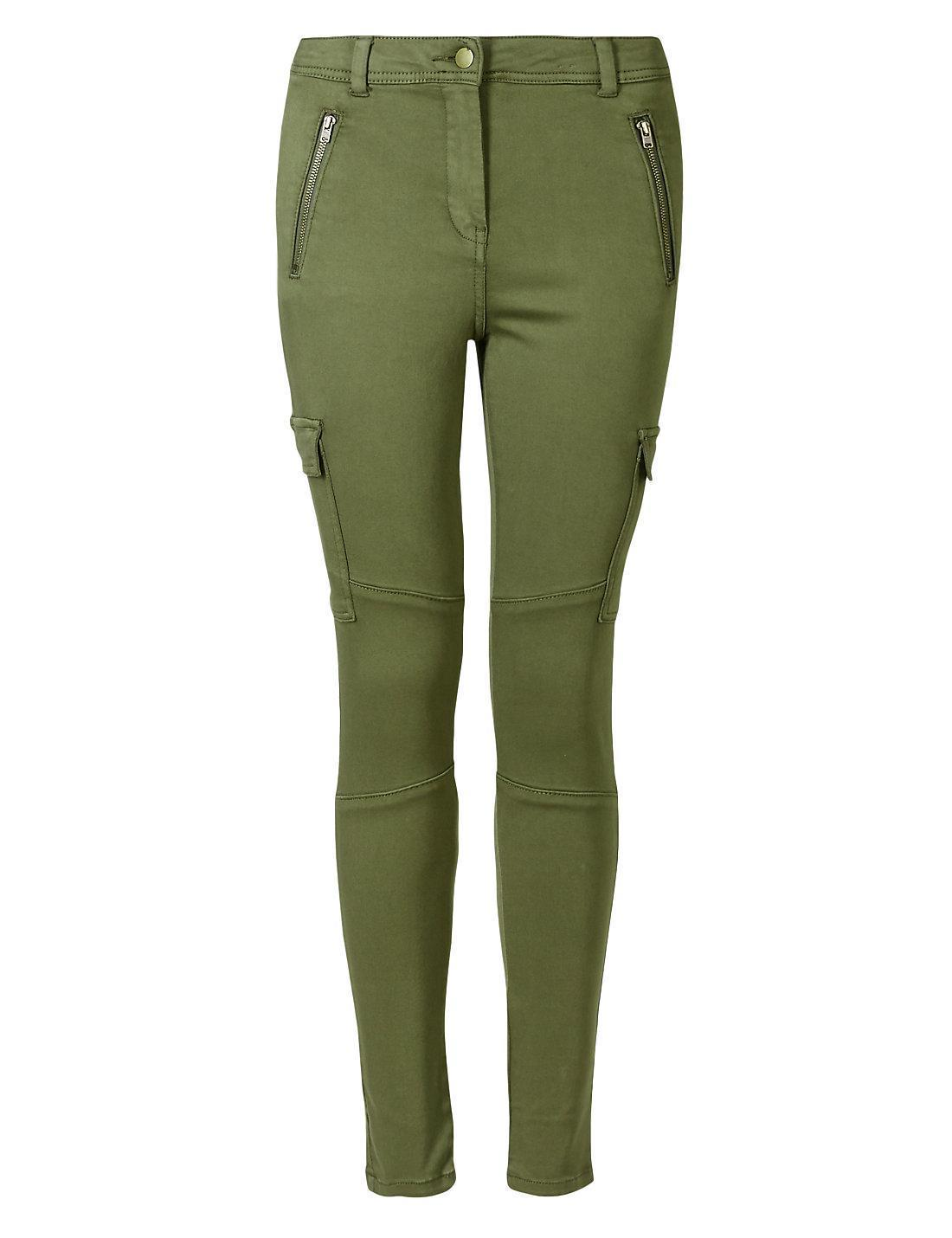 New Ex M/&S Ladies Cotton Rich Soft Touch  Skinny Cargo Trousers Jeans