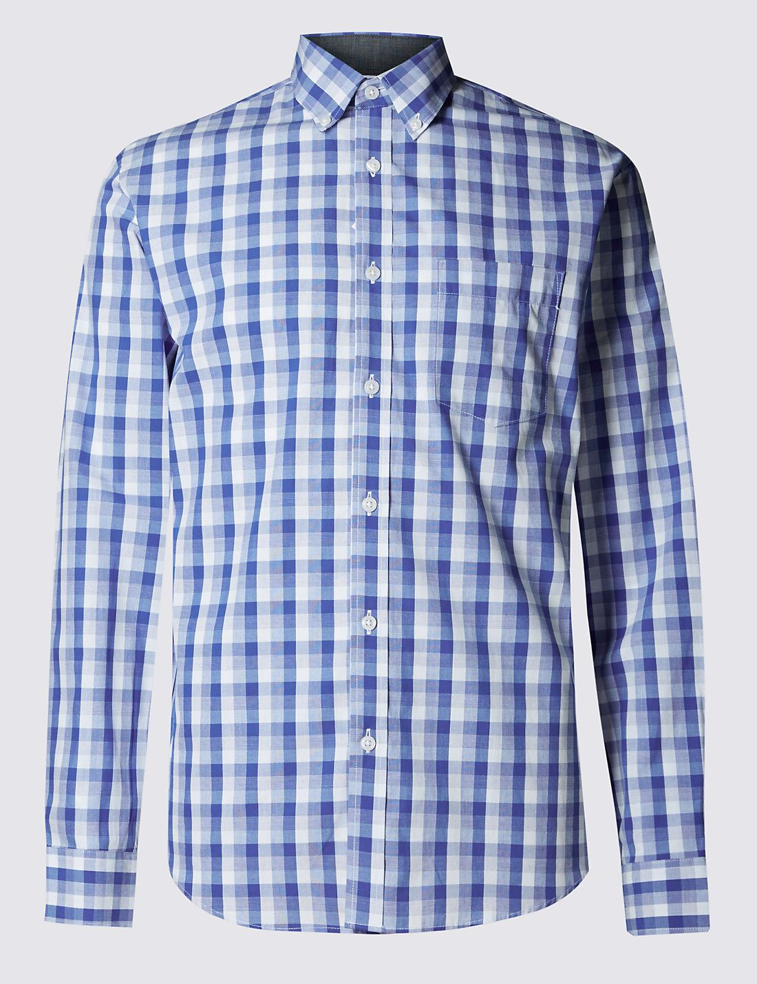 EX-M-amp-S-Marks-And-Spencer-Pure-Cotton-Tonal-Checked-Shirt thumbnail 9