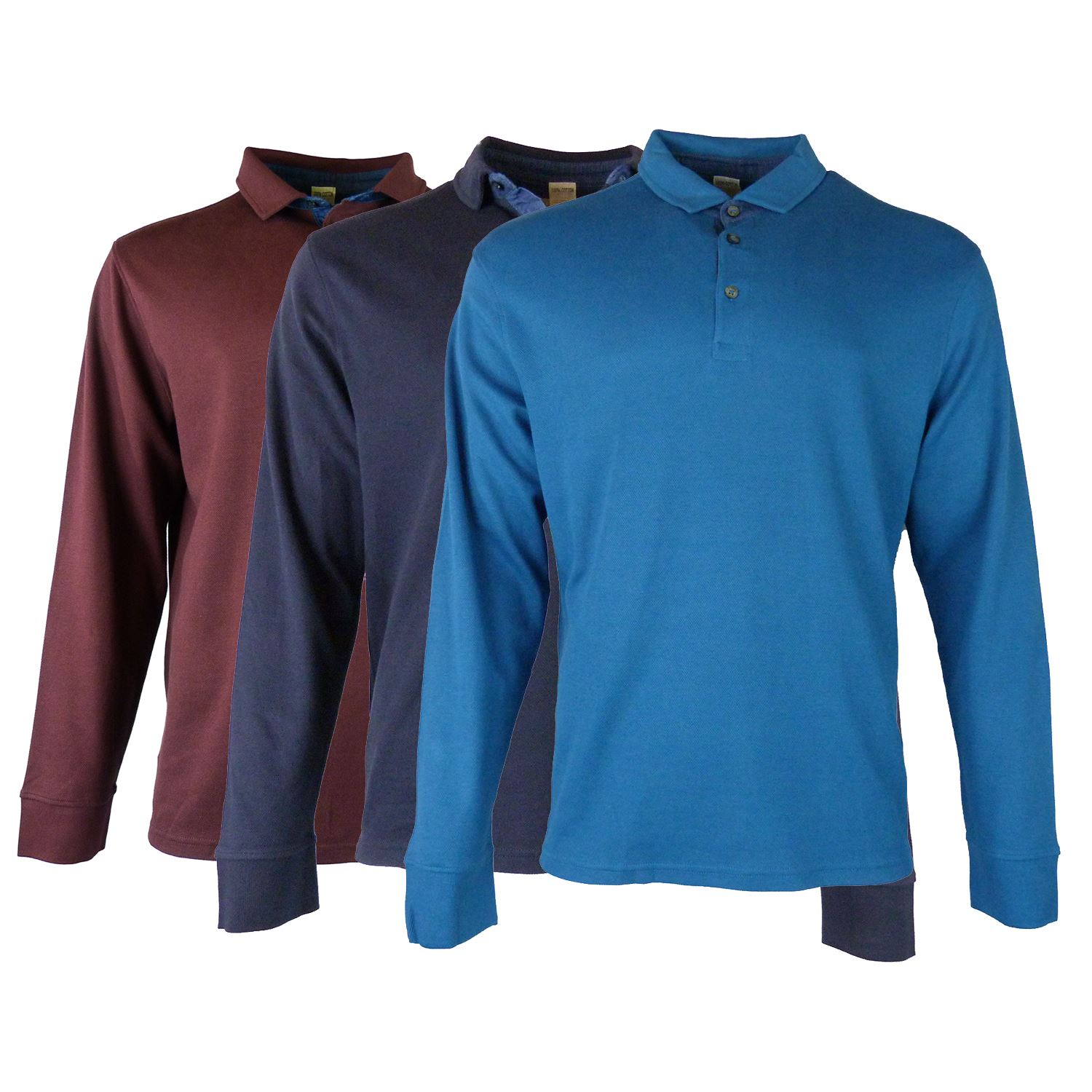 4811a6b9c4c4 EX M S Marks And Spencer Pure Cotton Textured Long Sleeve Polo Shirt ...