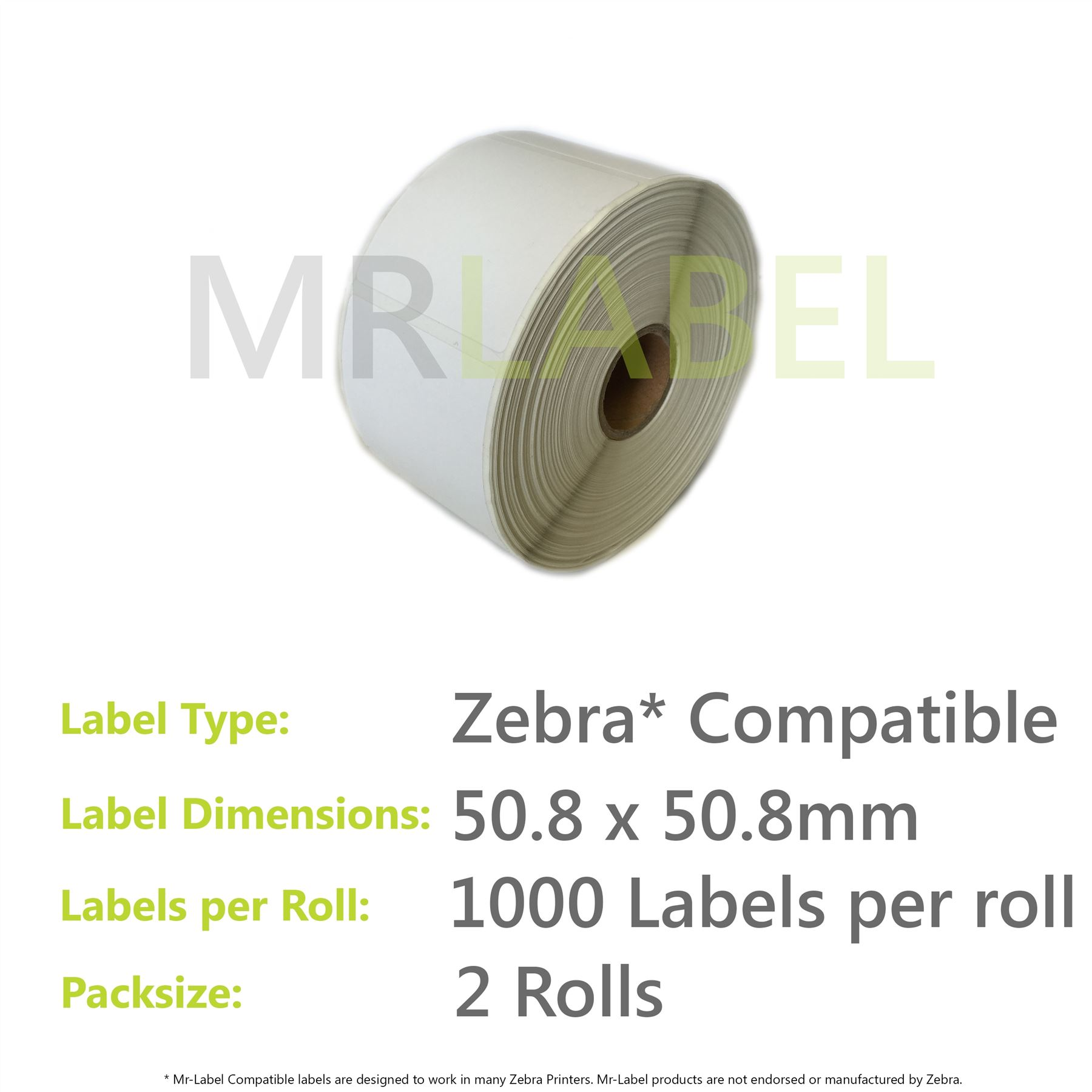 56mm x 25mm White Direct Printer Labels 1000 Per Roll 25mm Core