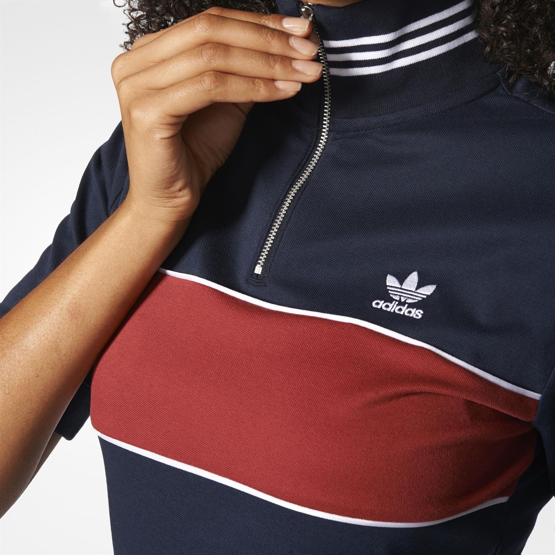 Details zu Adidas Original DAMEN Hoher Kragen Kleid Vintage Retro Zipper Navy Trefoil Top