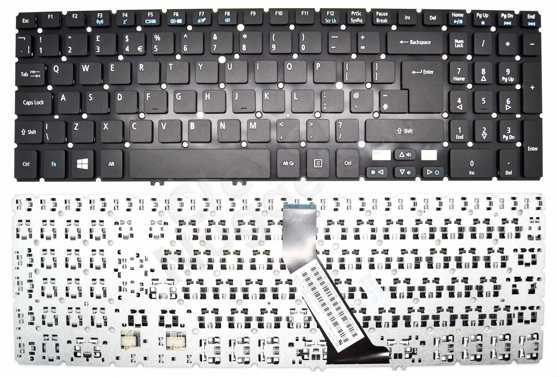 Acer Aspire V5 531 531g Keyboard Uk Layout Backlit With Backlight Laptop Parts Diagram