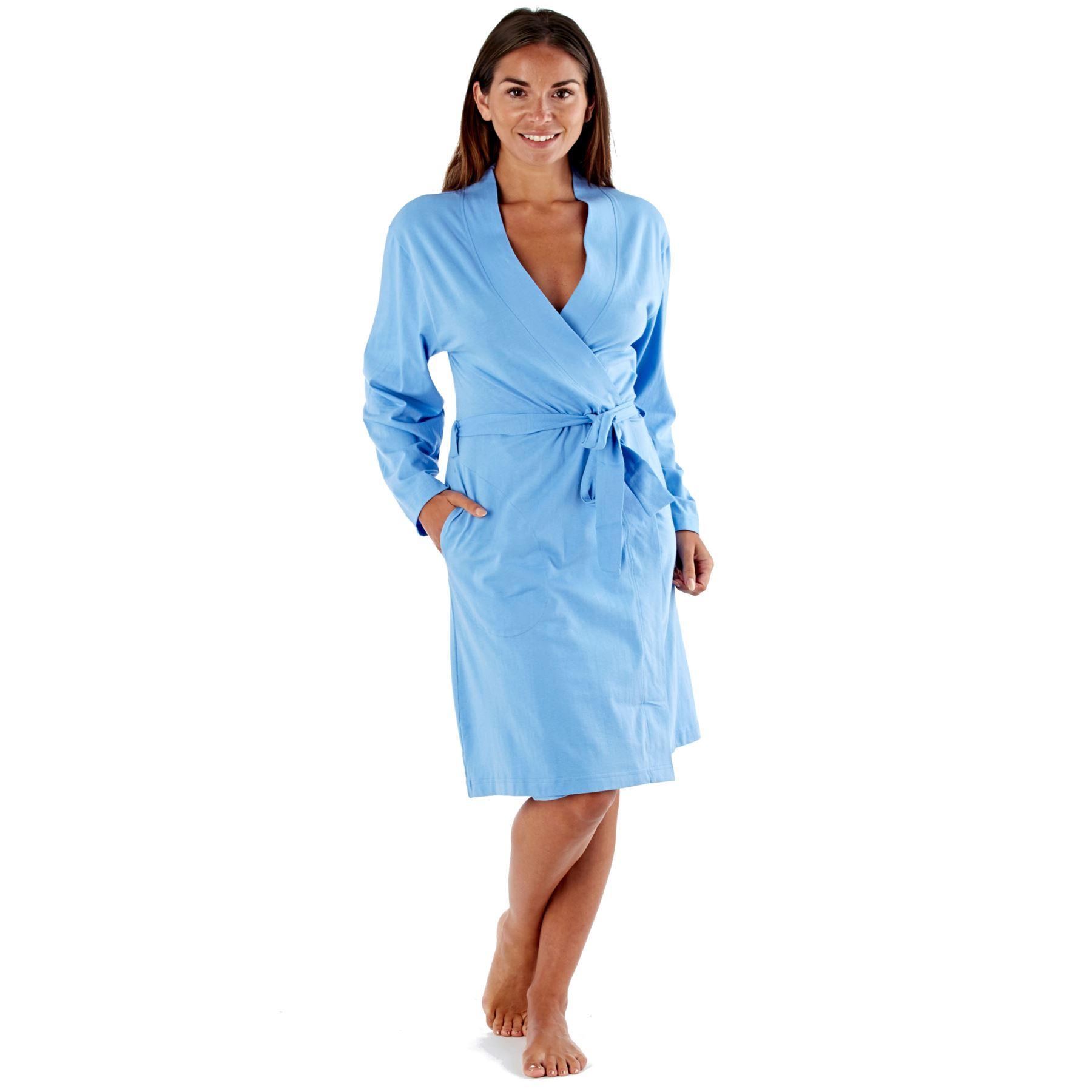 Ladies Lightweight Summer Jersey Bath Robe 100% Cotton Dressing Gown ...