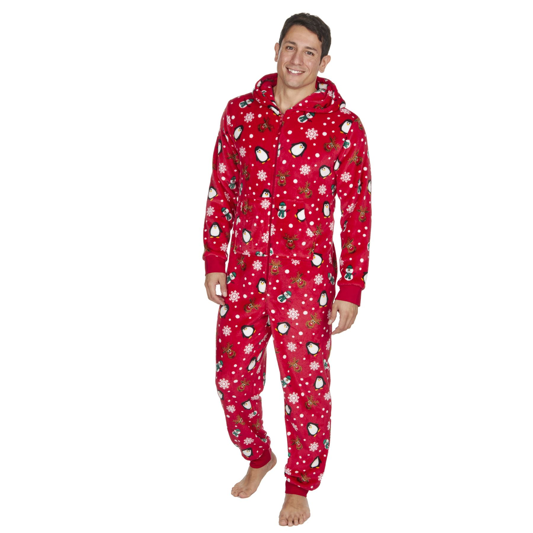 51869439ee 1Onesie Women's Mens Onezee Xmas Soft Snuggle Fleece All in One ...