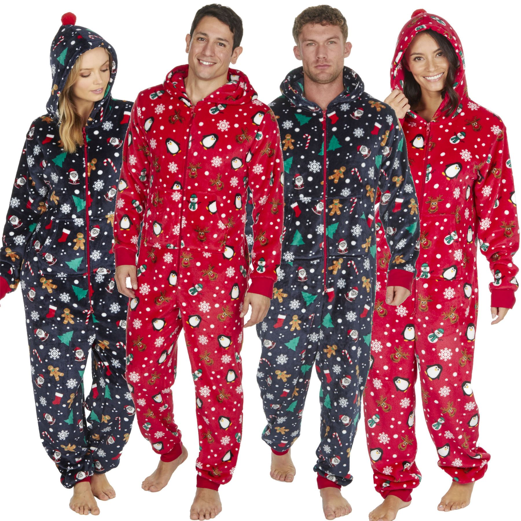 a09a3e6ee2 Details about 1Onesie Women's Mens Onezee Xmas Soft Snuggle Fleece All in  One Pyjamas Pjs