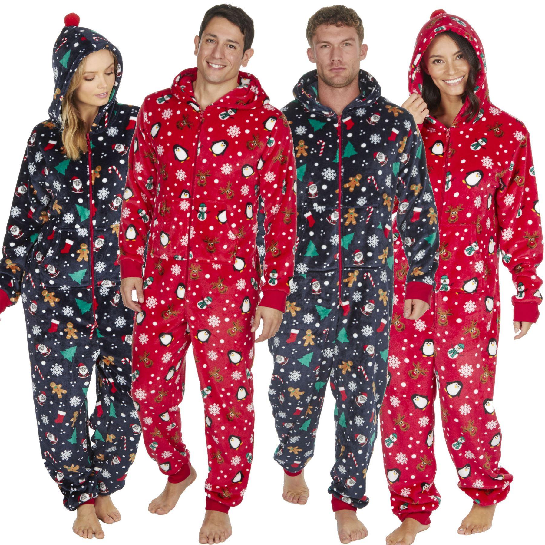 c9df9229e9 Details about 1Onesie Matching His N Hers Womens Mens Onezee Xmas Soft  Fleece Pyjamas Pjs