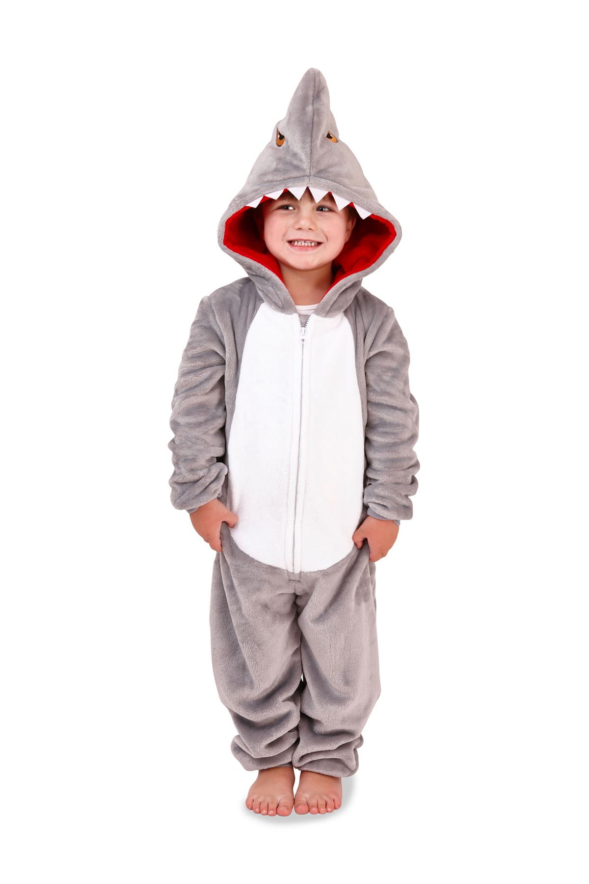 One Mens 3d Boys con Shark All figlio e Papà cappuccio Loungewear In Matching Pantofole q8Exdwq