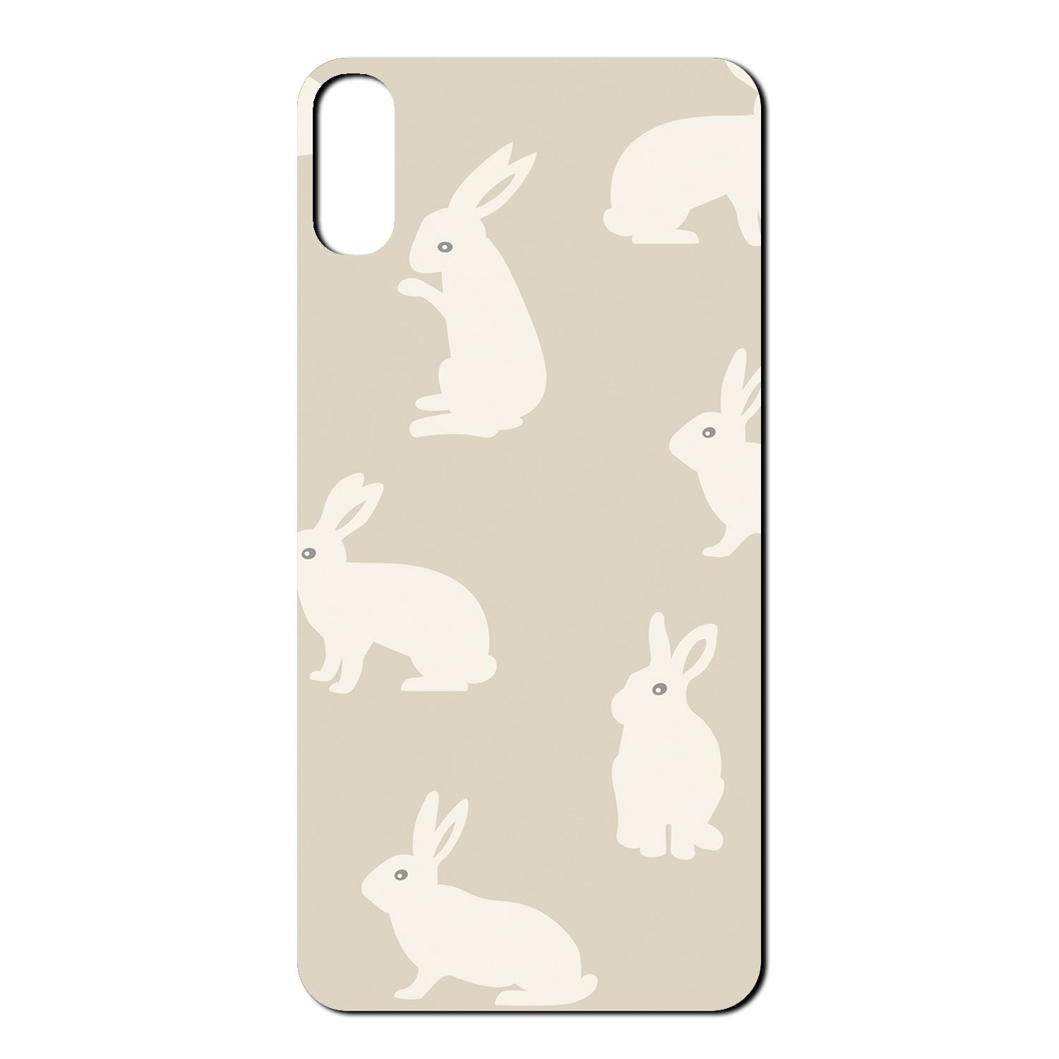 beige bunny rabbit pattern tpu back case cover for mobile phone