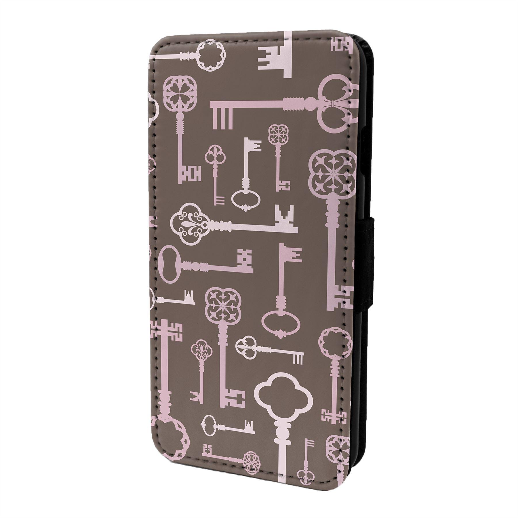 Retro-Key-Estampado-Funda-Libro-para-Telefono-Movil-S7062